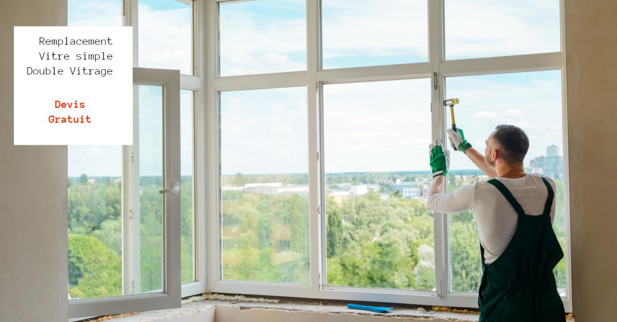 Remplacement vitre simple et double vitrage sur paris